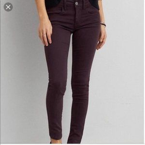 American Eagle AEO Maroon stretch jegging jeans